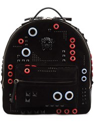 Versace Abstract Embroidery Backpack Black