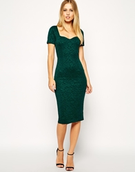Asos Midi Bodycon Dress With Sweetheart Neck In Floral Texture Green