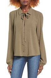Chloe And Katie Women's Tie Neck Blouse Olive