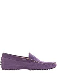 Tod's Gommino Suede Driving Shoes Purple