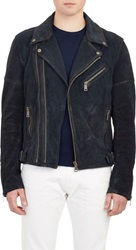 Ralph Lauren Black Label Suede Moto Jacket Blue Size S