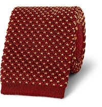 Dunhill Knitted Silk Tie Burgundy