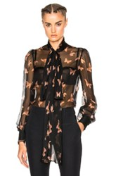 Alexander Mcqueen Blouse In Blue Abstract Blue Abstract