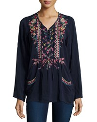 Johnny Was Farrah Long Sleeve Embroidered Blouse Stargazing