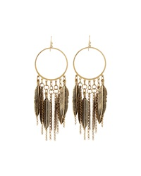 Panacea Feather Fringe Hoop Earrings