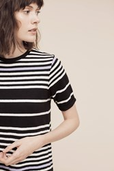 Anthropologie Striped Cullier Tee Black