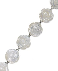 Macy's Sterling Silver Bracelet Mother Of Pearl Flower Bracelet