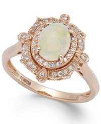 Effy Collection Aurora By Effy Opal 5 8 Ct. T.W. And Diamond 1 6 Ct. T.W. Oval Ring In 14K Rose Gold