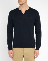 Harris Wilson Navy Grandad Collar Linen Slubbed Cotton Sweater Blue