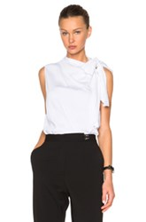 Victoria Beckham Heavy Matte Satin Sleeveless Tie Blouse In White