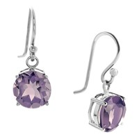 Bijouxx Jewels 8Mm Gemstone Drop Earrings In Sterling Silver Amethyst