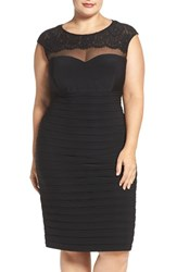 Xscape Evenings Plus Size Women's Lace And Illusion Yoke Shutter Pleat Cocktail Dress