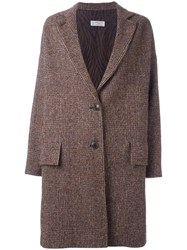 Alberto Biani Cocoon Single Breasted Coat Brown