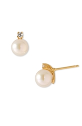 Majorica 8Mm Pearl Stud Earrings With Cubic Zirconia White Pearl Gold