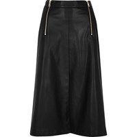 River Island Womens Black Leather Look Zip Detail Midi Skirt