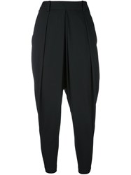 Masnada Pleat Detail Harem Trousers Black