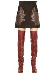 Chloe Suede Skirt W Quilted Leather Patches Brown
