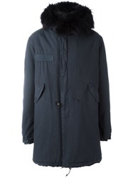 Mr And Mrs Italy Raccoon Fur Collar Parka Blue