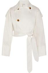 Tome Cropped Cotton Blend Sateen Trench Coat White