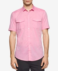 Calvin Klein Men's Slim Fit Striped Dobby Short Sleeve Shirt Granita