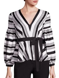 Alexis Sienna Striped Peplum Top Black White