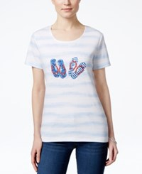 Karen Scott Petite Flip Flop Graphic T Shirt Only At Macy's Bright White