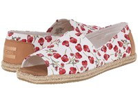 Toms Alpargata Open Toe Poppy Textile Sandstorm Vachette Leather Women's Flat Shoes Red