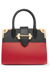 Prada Cahier Small Two Tone Leather Tote Red
