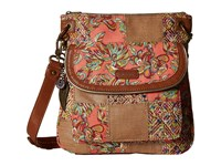 Sakroots Artist Circle Flap Crossbody Coral Treehouse Patched Cross Body Handbags Brown