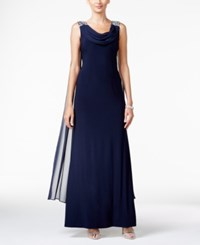 Jessica Howard Embellished Cowl Neck A Line Gown Navy