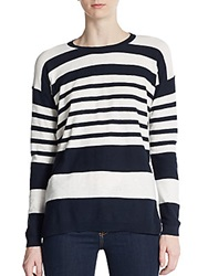 Vince Stripped Knit Dropped Shoulder Pullover Navy White