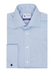Chester Barrie Oxford Weave Long Sleeve Shirt Blue