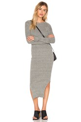 J.O.A. Long Sleeve Crew Neck Midi Dress Grey
