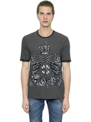 Dolce And Gabbana Flocked Cotton Jersey T Shirt