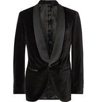 Hackett Black Slim Fit Satin Trimmed Velvet Tuxedo Jacket