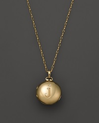 Monica Rich Kosann 18K Yellow Gold Petite Diamond Initial Locket Necklace 30 J
