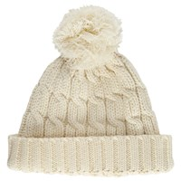 John Lewis Rope Cable Knit Pom Pom Beanie Hat Cream
