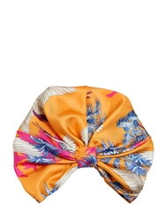 Etro Bird Printed Silk Twill Turban Orange