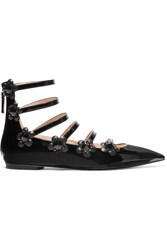 Fendi Embellished Floral Appliqued Patent Leather Point Toe Flats Black