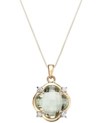 Macy's Mint Quartz 6 1 2 Ct. T.W. And Diamond 1 10 Ct. T.W. Clover Pendant Necklace In 14K Gold Green