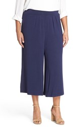 Plus Size Women's Sejour Knit Palazzo Pants Navy Peacoat