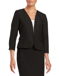 Nipon Boutique Open Front Jaquard Jacket Black