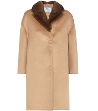 Prada Fur Trimmed Wool And Angora Blend Coat Beige