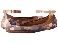 Yosi Samra Abbey Washed Camo Leather Flat Muted Rose Women's Flat Shoes Blue