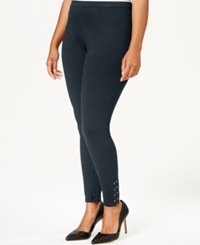 Style And Co. Plus Size Studded Zip Cuff Leggings Only At Macy's Industrial Blue