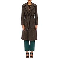 Maison Mayle Women's Tweed And Leather Coat Black Brown Black Brown