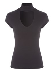Jane Norman Choker Cap Sleeve Top Black