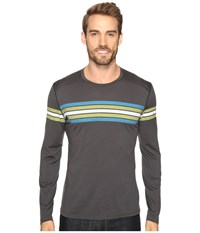 Icebreaker Oasis Long Sleeve Crewe Coronet Stripe Monsoon Cactus Men's Clothing Black