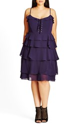 City Chic Plus Size Women's Lace Up Ruffle Fit And Flare Dress Blackberry