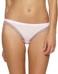 Felina Lace Trimmed Thong Barely Pink